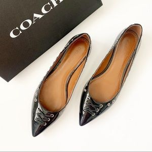 🔥Coach Valerie Patent Black Leather Grommet Flat
